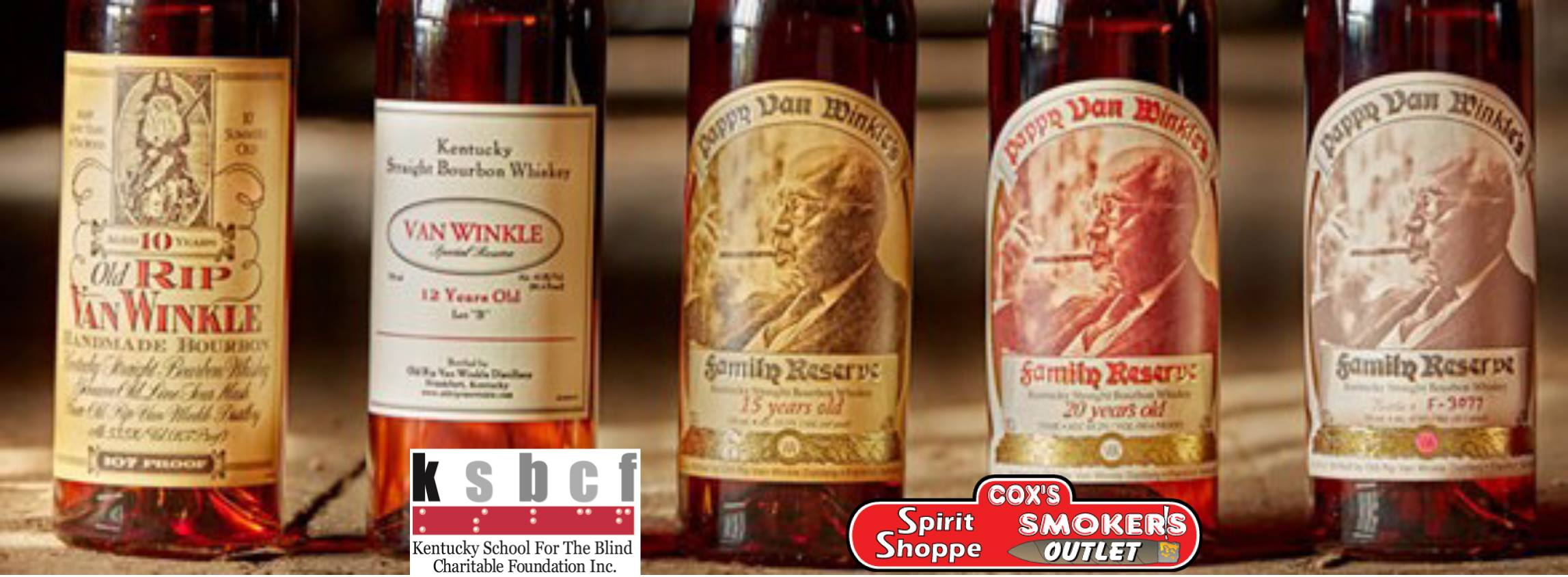 5 Pappy Van Winkle Bourbon bottles raffle flyer